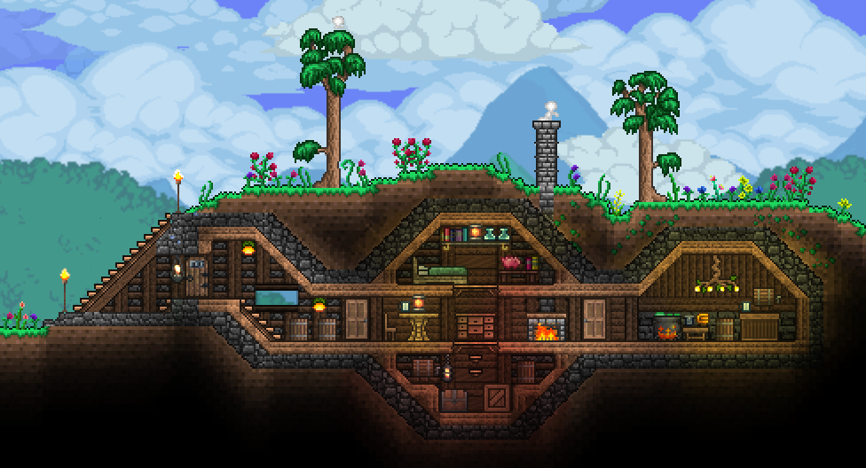 Terraria Cozy Cabin Terraria House Design Terrarium Base Terraria House Ideas