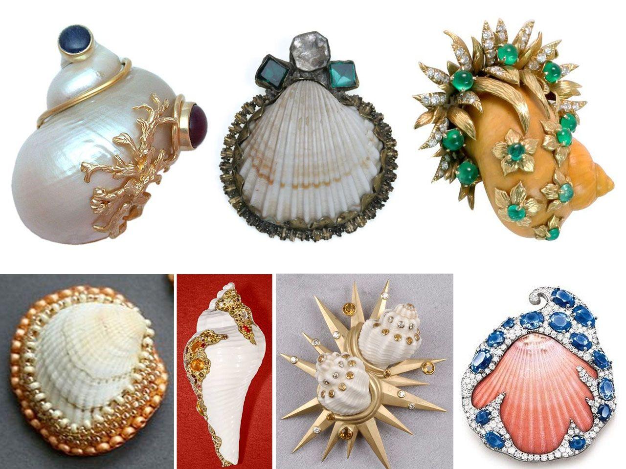 Incre bles manualidades con conchas de mar broches - Manualidades con conchas ...