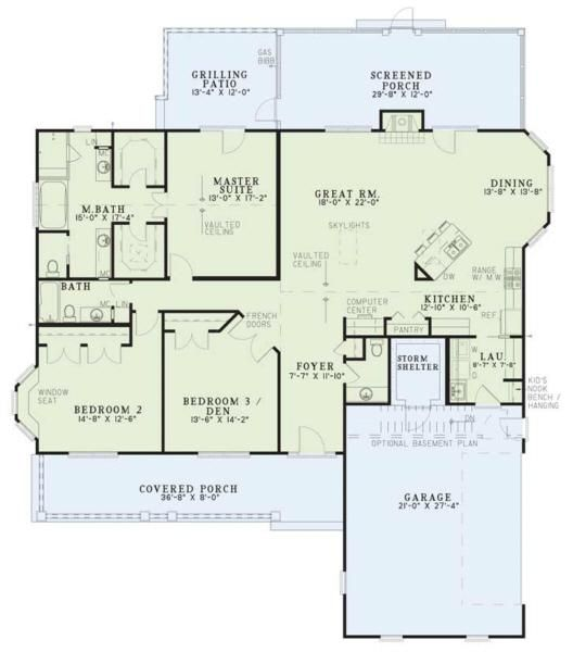 House Plan 110 00140 Traditional Plan 2 131 Square Feet 3 Bedrooms 2 5 Bathrooms One Level House Plans Country Style House Plans Dream House Plans