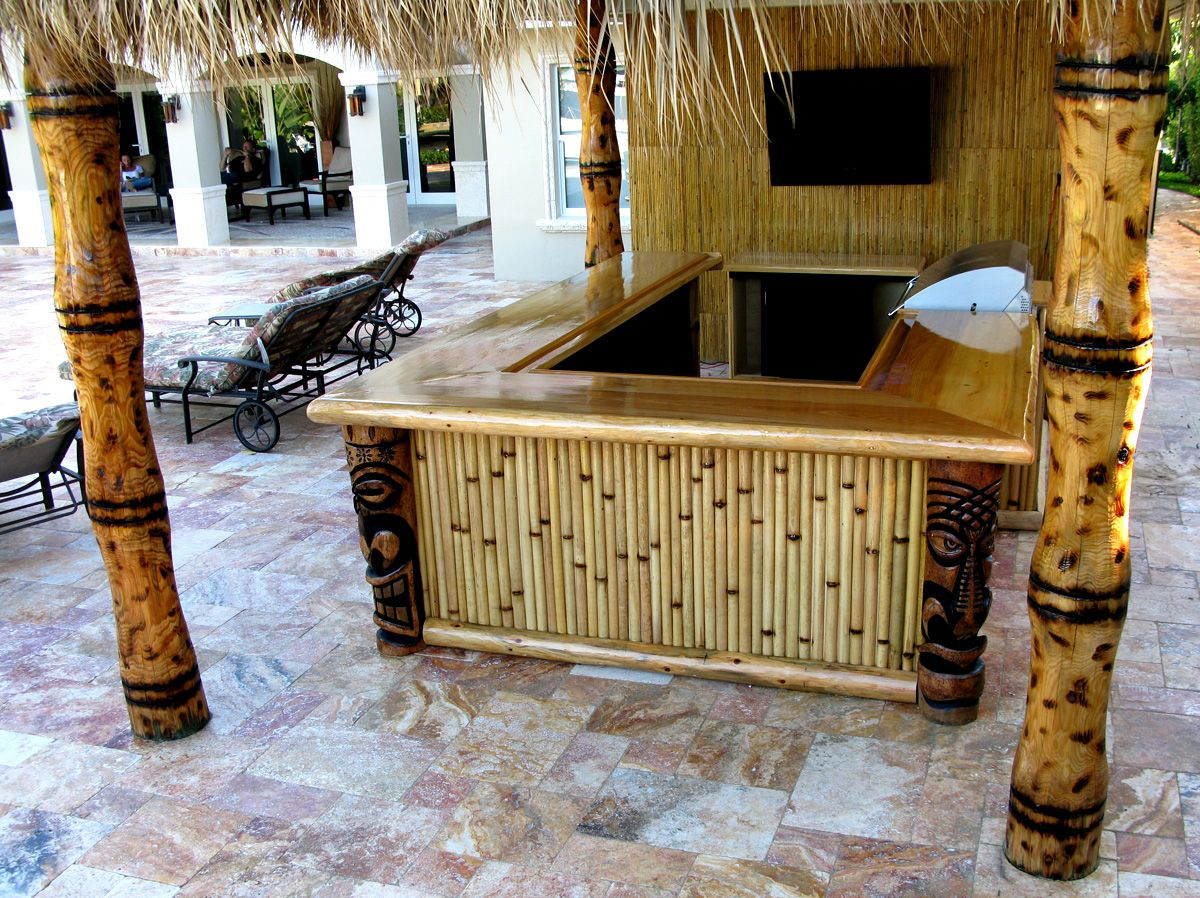 Patio tiki bar | My Great Outdoors and Yard | Pinterest on Tiki Bar Designs For Backyard id=58929