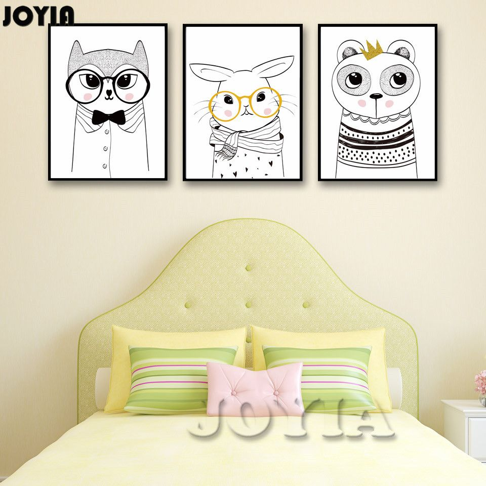 Cartoon Animal Bear Rabbit Glasses Wall Art Canvas Poster Modern ...