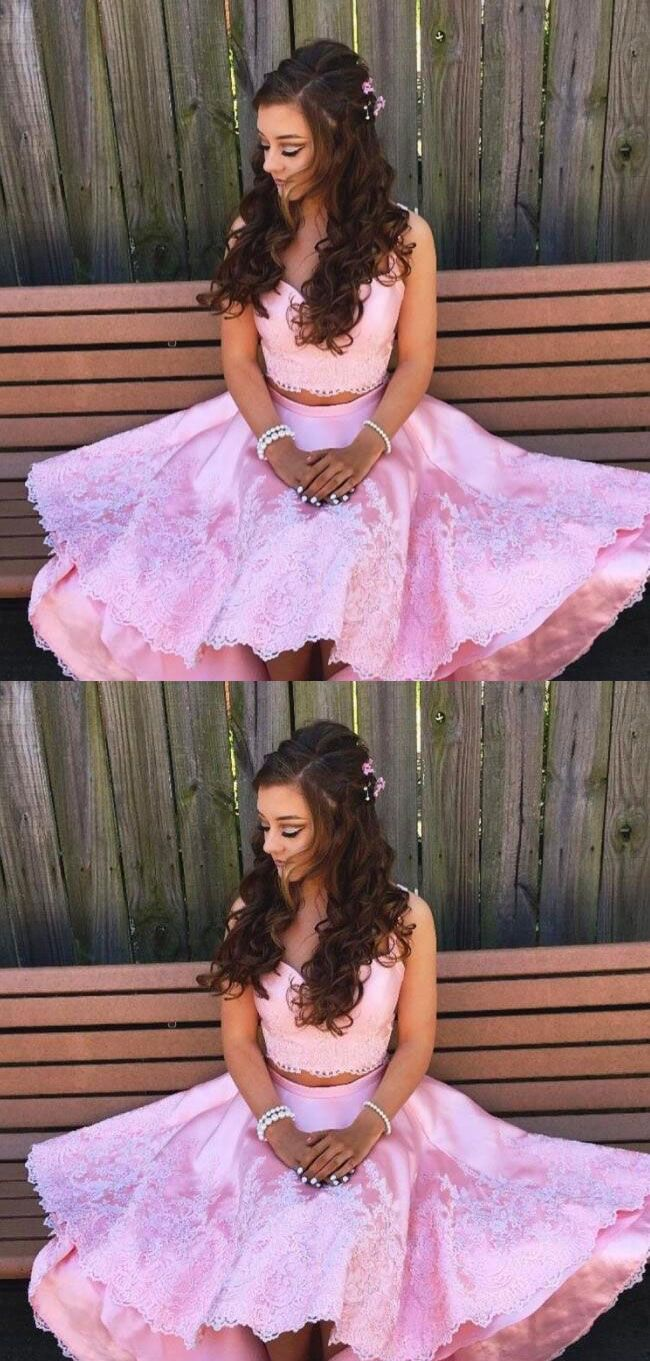 Sexy pink prom dresses elegant prom dresses pink with white lace