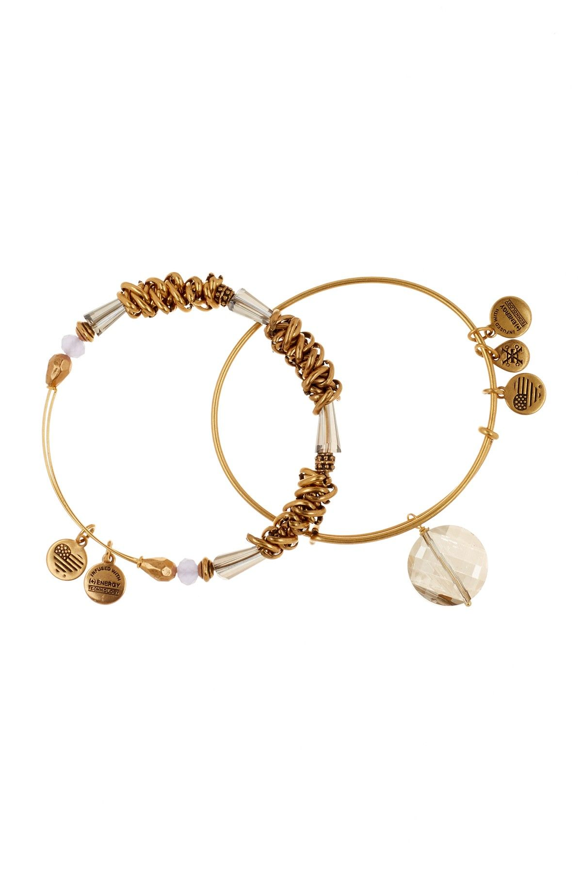 Alex And Ani Beaded Expandable Wire Bangles Set Of 2