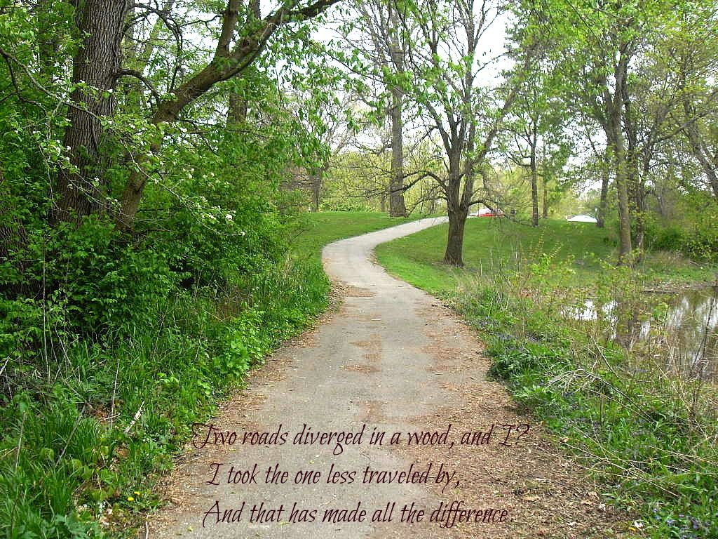 """""""Two roads diverged in a wood, and I - I took the one less traveled by,  And that has made all the difference.""""     -Robert Frost"""