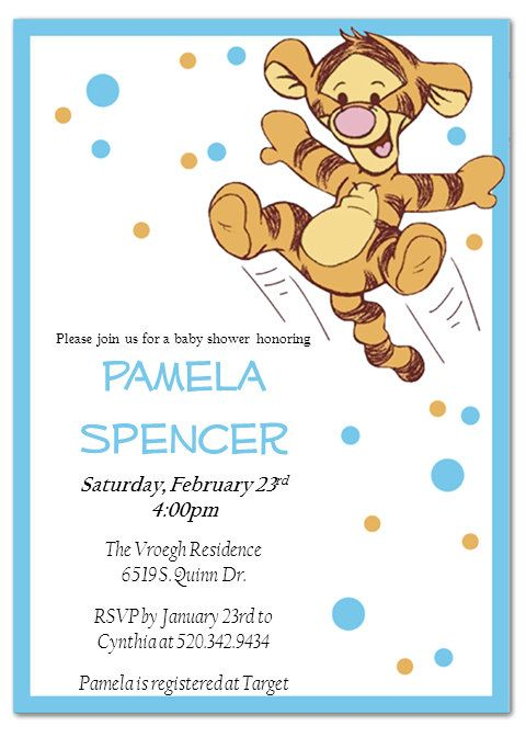 printable baby shower invitations tigger by pamelasdigitalprints,