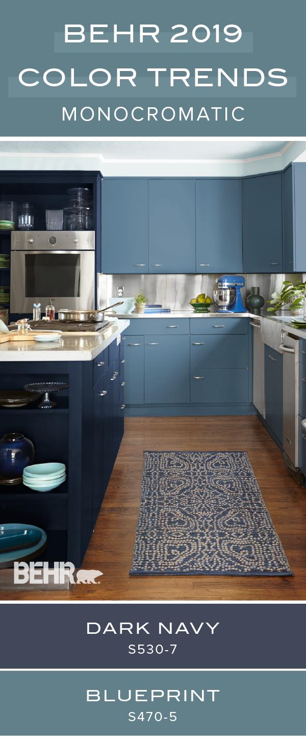 Behr Paint in Blueprint and Dark Navy help to transform this kitchen ...
