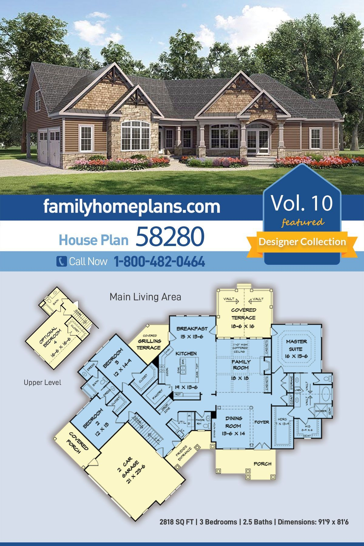 One Story Craftsman Home Floor Plan 58280 Has Great Design Features Three Bedrooms 2818 Squa In 2020 Craftsman House Plans Craftsman Style House Plans Craftsman House