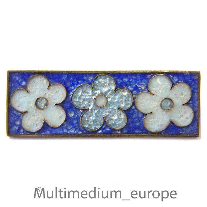 Emaille Brosche  PERLI blau signiert Blumen flowers enamel brooch metal signed