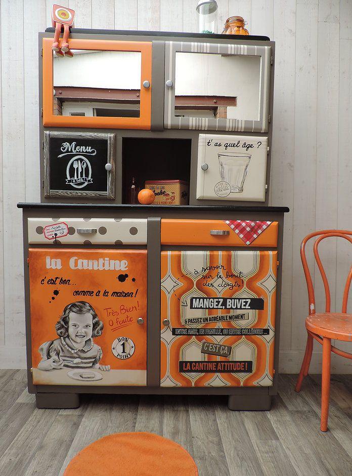 Buffet mado, meuble peint, meuble vintage, meuble rétro, peinture