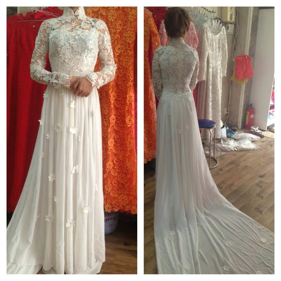 Vietnamese Wedding Gown: Love This Chiffon/lace Floral Appliqué Ao Dai