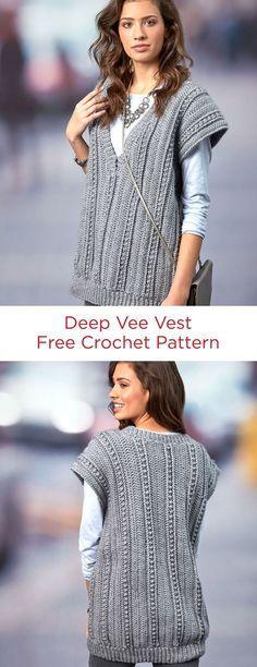 Deep Vee Vest Free Crochet Pattern In Red Heart Yarns If You Like