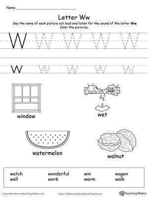 Words Starting With Letter W  Learning Letters Preschool