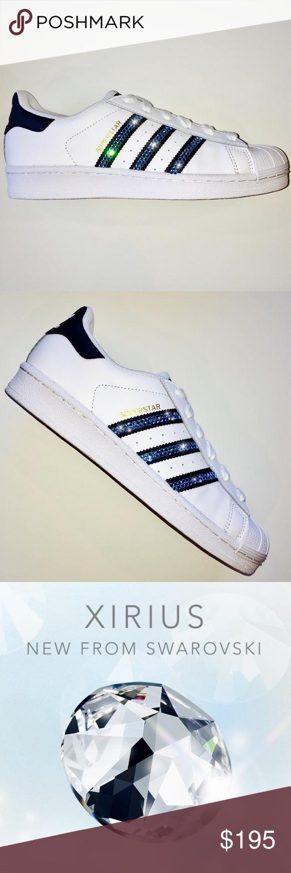 swarovski adidas superstar bling bling scarpe w / blu, scarpe adidas