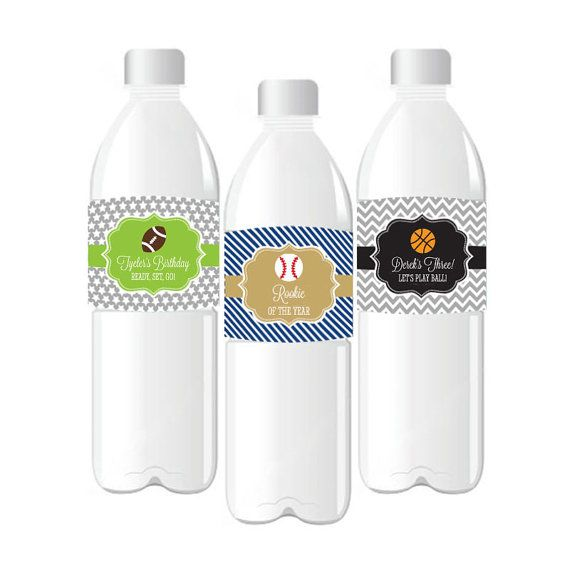 Personalized Sports Bottle Labels: Personalized Sports Water Bottle Labels For A Basesball