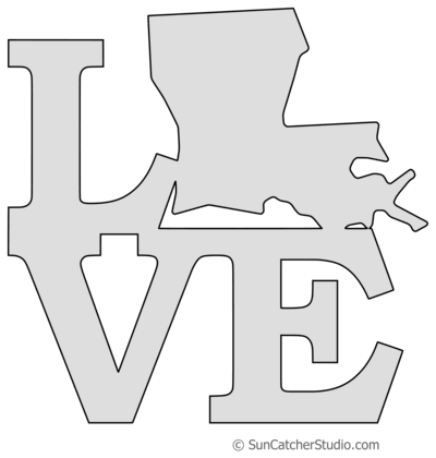 Louisiana Map Outline Printable State Shape Stencil Pattern Louisiana Map Free Stencils State Shape Art