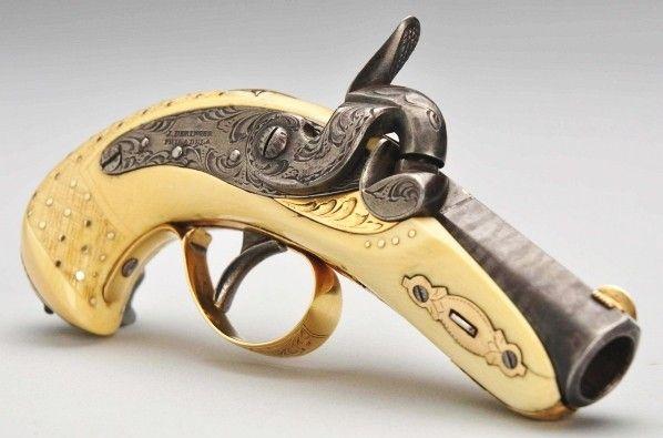 Phila. Style Derringer Barrel  Lock by Slotter. Sold for $26500