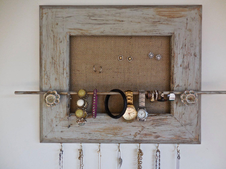Jewelry Organizer HolderBoho Rustic DecorHoliday GiftRepurposed