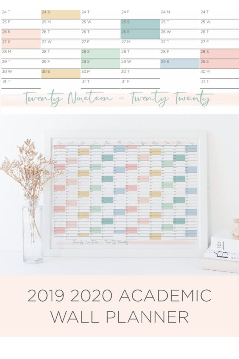 2019 2020 Student Wall Planner A Beautiful Printable Planner To