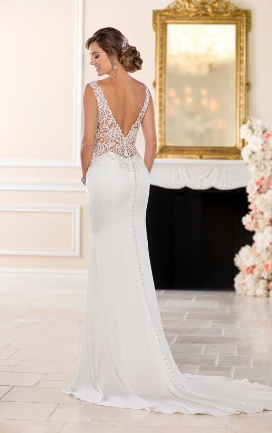 6534 Backless Sheath Wedding Gown By Stella York