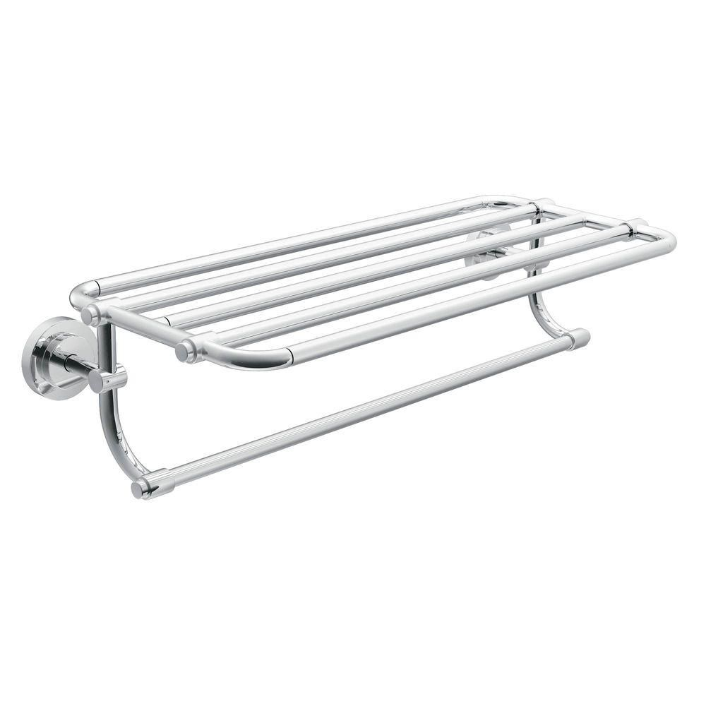 Moen Iso 10 7 10 In L X 6 9 25 In H X 26 19 20 In W Zinc Hotel Style Bathroom Shelf In Chrome Dn0794ch Bathroom Shelves For Towels Towel Shelf Hotel Towels