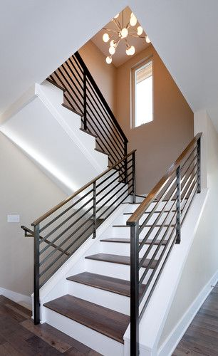 Contemporary Staircase Split Level Staircase Design Pictures   Split Level Stair Railing   Electrical Conduit   Wood   Julia   Entryway   Tri Level