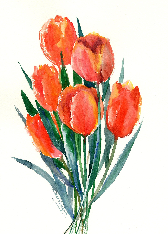 Peach colors,Tulip flowers, Tulips Art, Tulips Painting, original ...