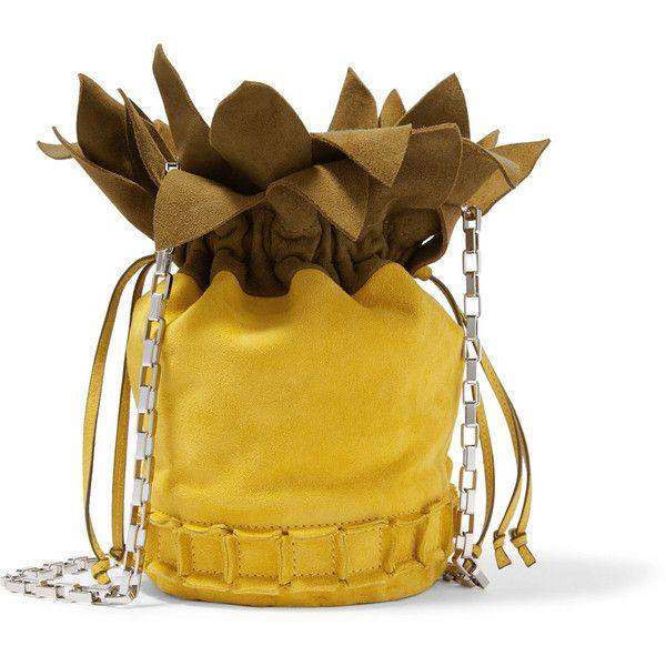 Tomasini Ananas suede shoulder bag (2.810.495 COP) ❤ liked on Polyvore featuring bags, handbags, shoulder bags, yellow, holiday purse, evening purses, pouch purse, suede shoulder bag and cocktail purse