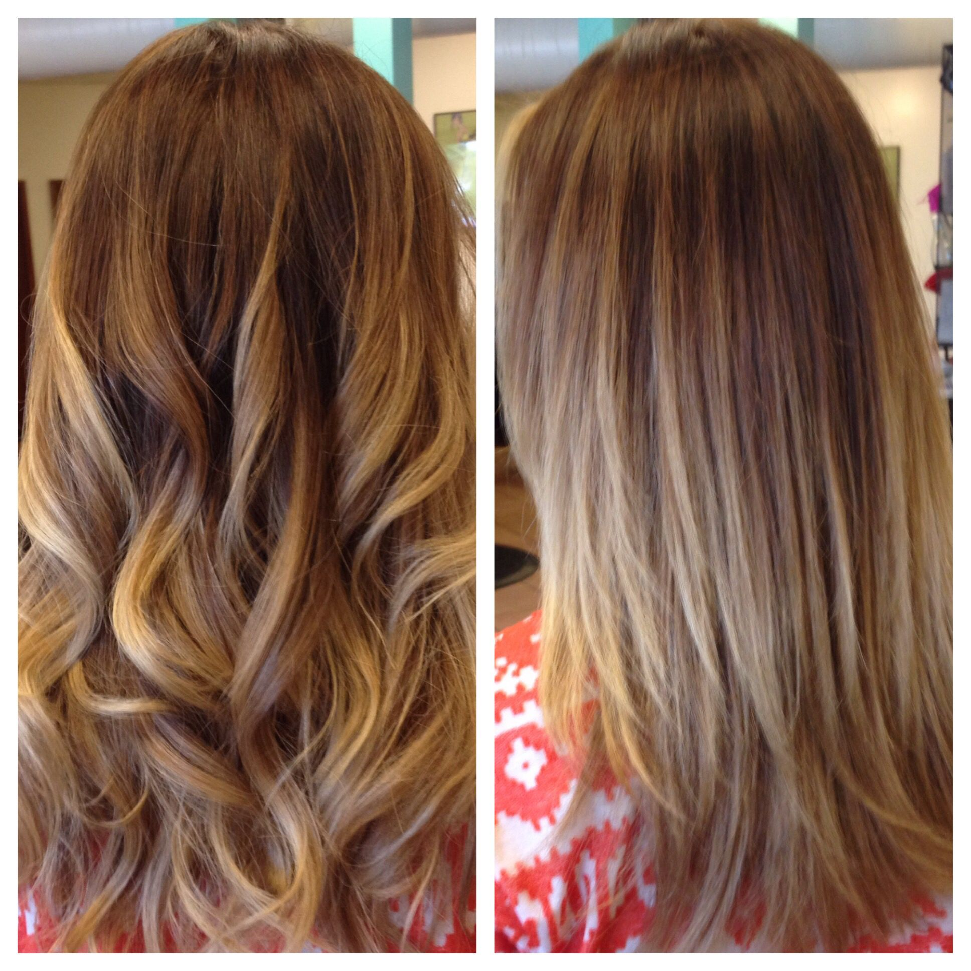 Balayage highlights with color correction. From brassy ...