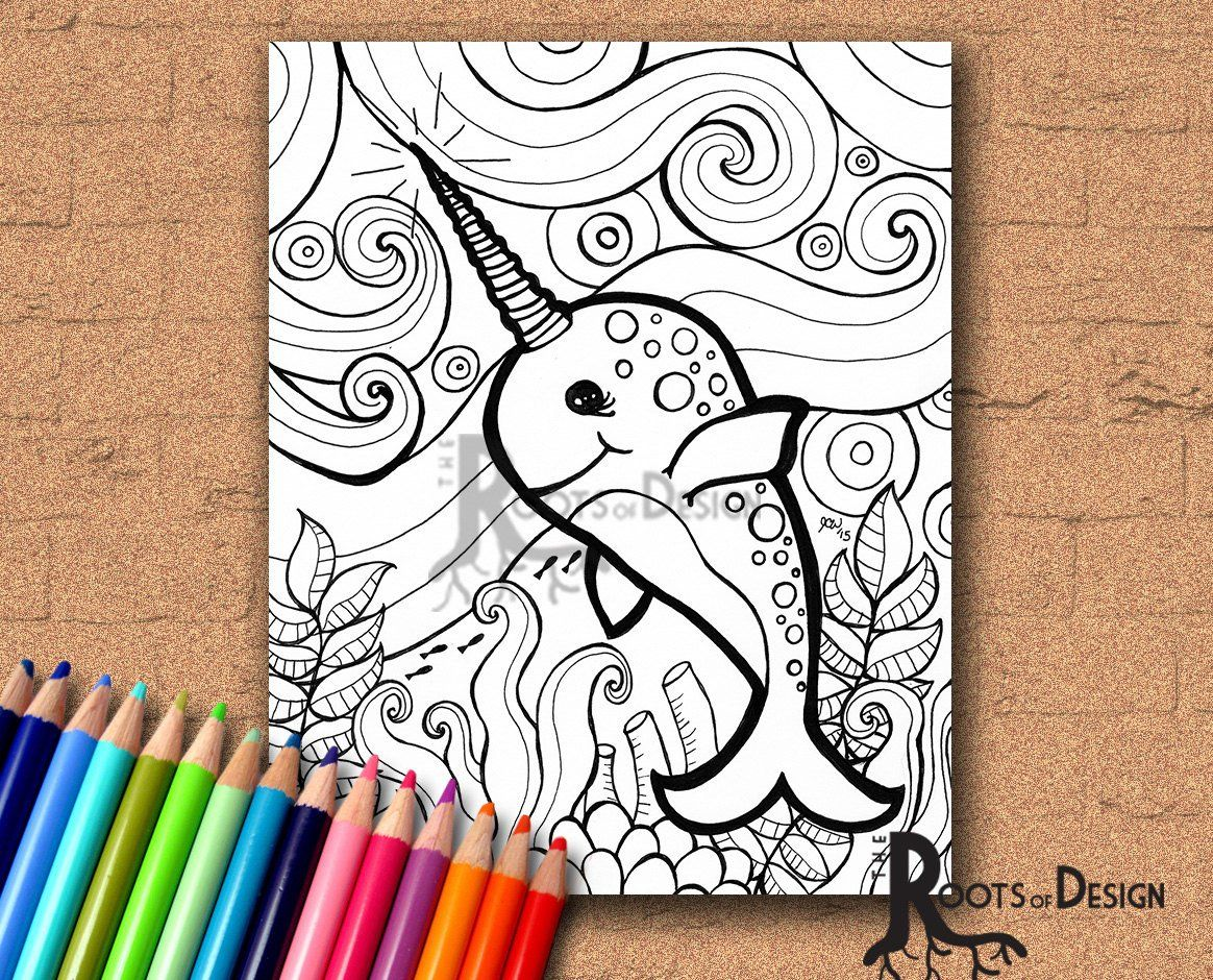 INSTANT DOWNLOAD Coloring Page Narwhal zentangle inspired