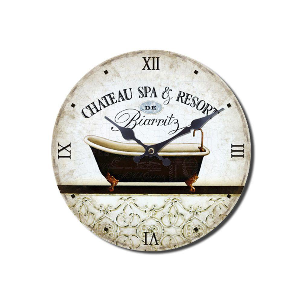Wanduhr Chateau Spa Resort Nostalgische Uhr Mit Badewanne Badezimmer Bad Antik Wanduhr Badewanne Uhr