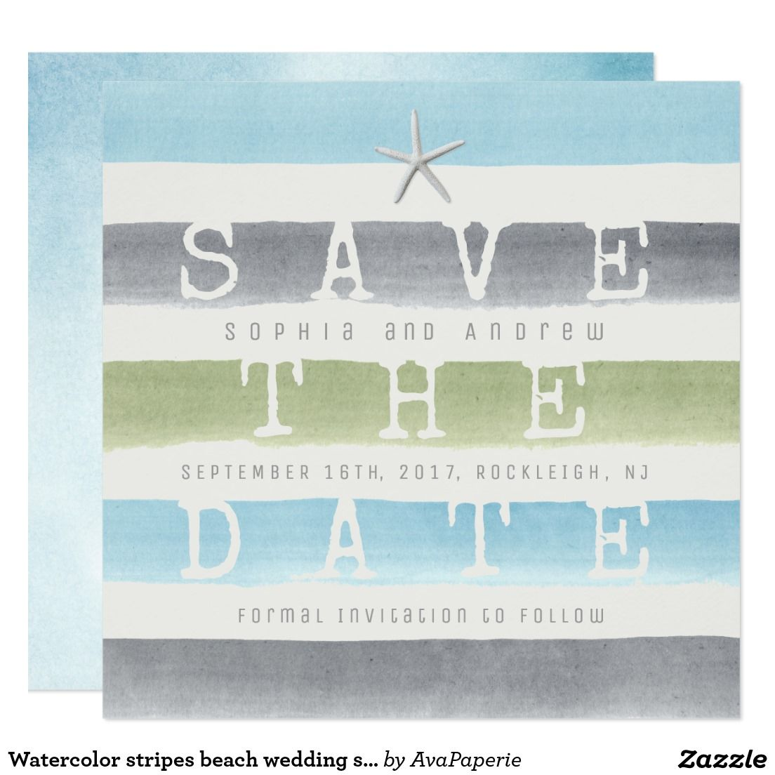 Watercolor stripes beach wedding save the date | SUMMER WEDDING ...