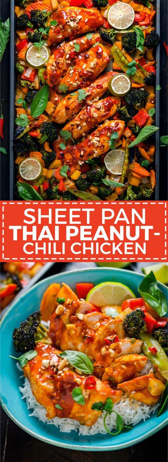 Sheet Pan Thai Peanut-Chili Chicken