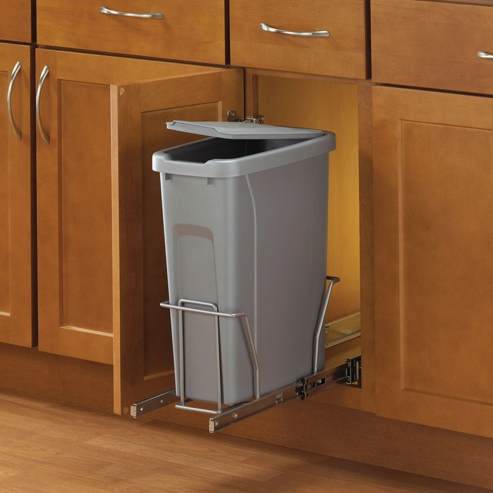 Slide Out Waste Bin 20 Quart Kitchen Trash Cans Pull Out
