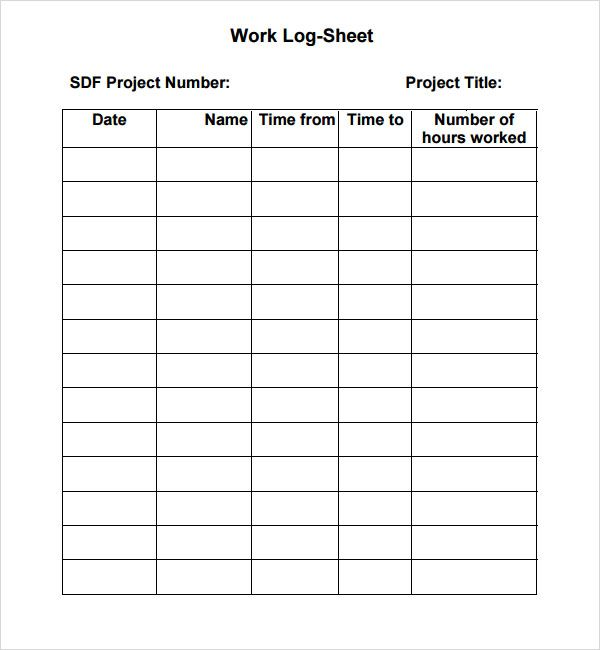 work log sheet | Sign in sheet template, Sign in sheet ...