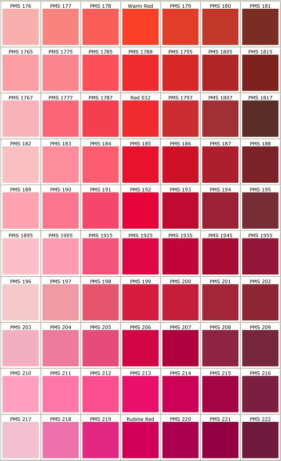Pms Color Chart Red Coloringsite