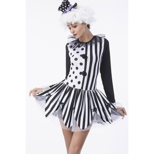 Black White Striped Sexy Clown Dress Costume ($37) ? liked on Polyvore featuring costumes clown costumes sexy halloween costumes role play costumes ...  sc 1 st  Pinterest & Black White Striped Sexy Clown Dress Costume ($37) ? liked on ...