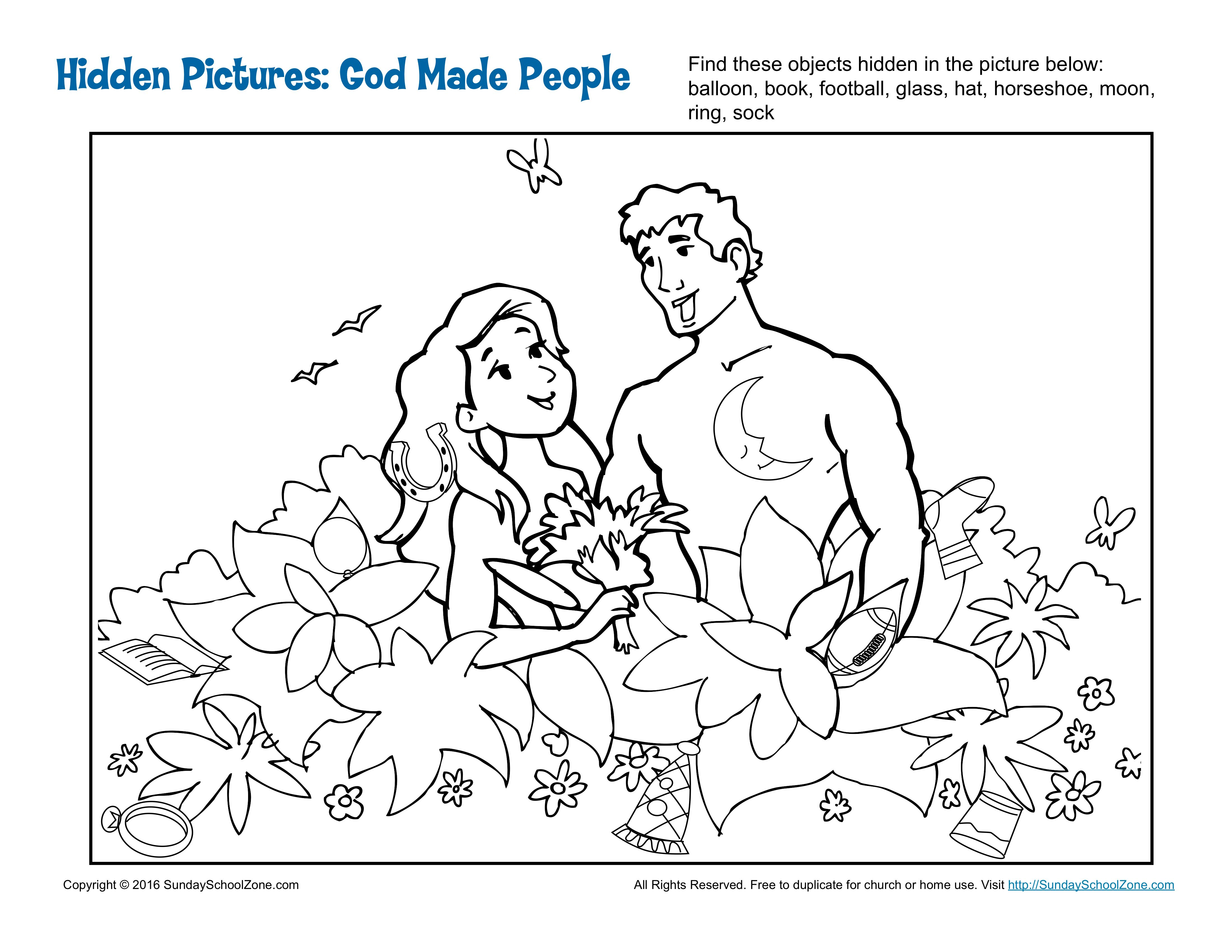 God Made People Hidden Pictures | Bible activities, Sunday ...