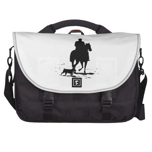 Cowboy On His Horse With His Dog Commuter Bag