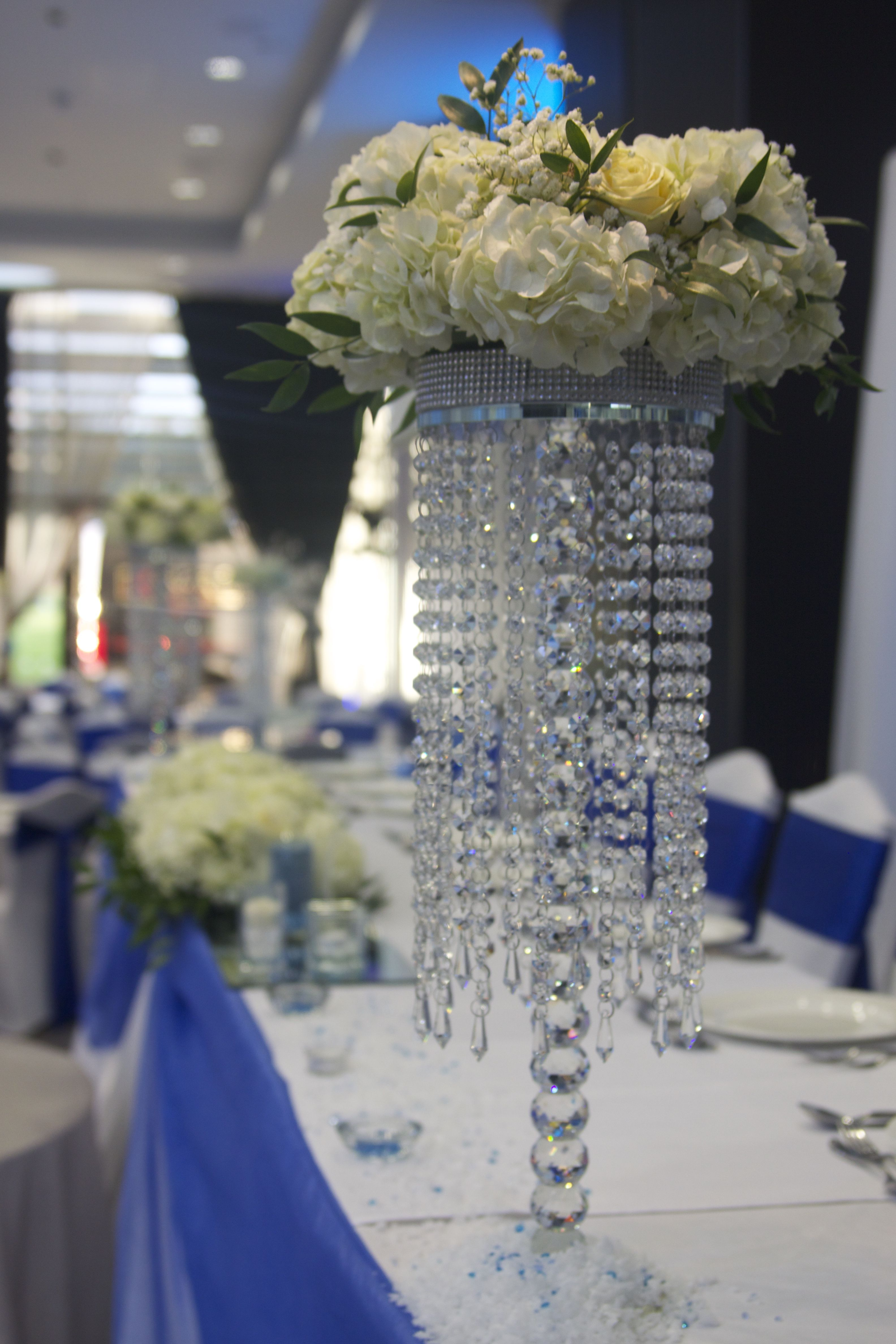 Chandelier Table Centres With Fl Design Crystal Lighting For Hire In London And The Uk