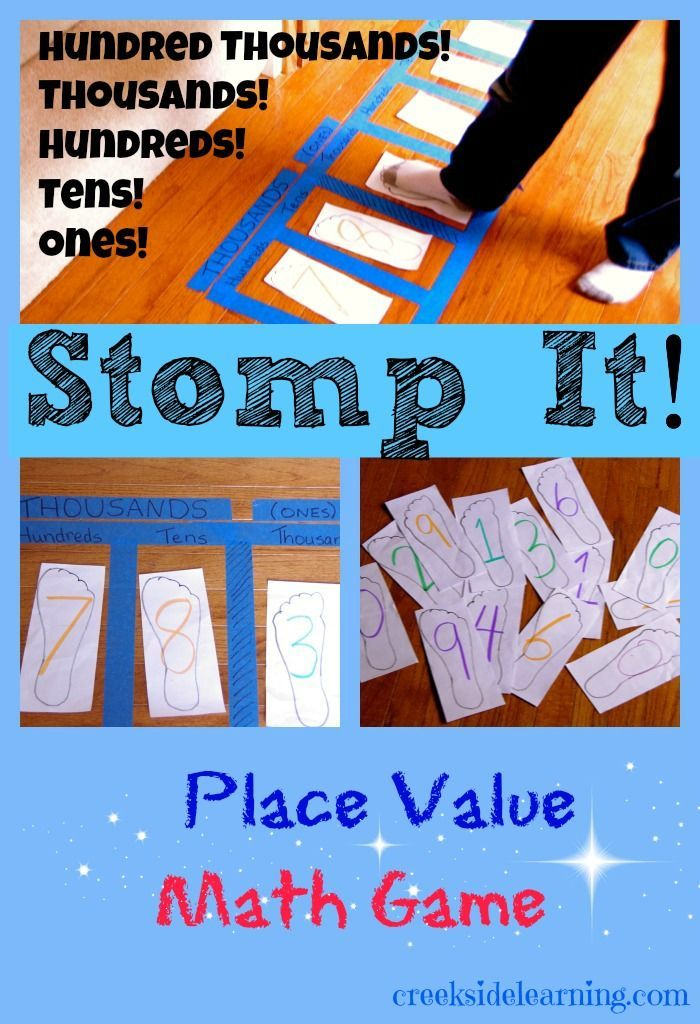 Whole Body Math Learning: Stomp It! Place Value Game | Math, Motor ...