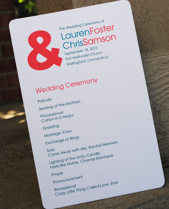 Simple Wedding Programs Calluna Events Non Traditional