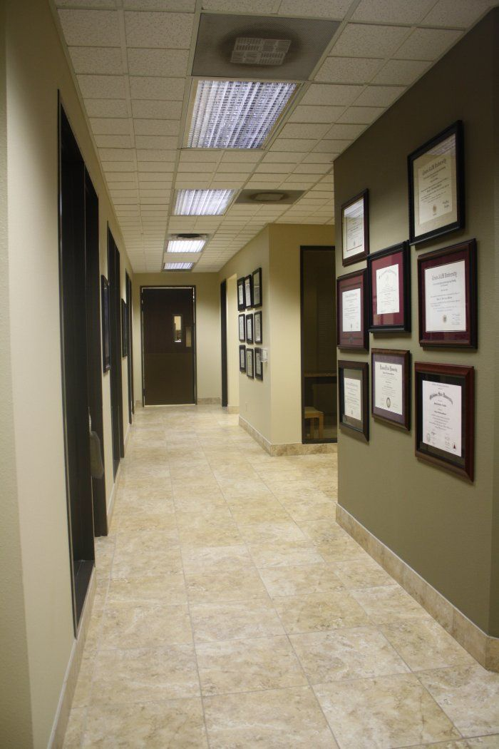 Examination Rooms Hallway Displaying Licenses Medical Office