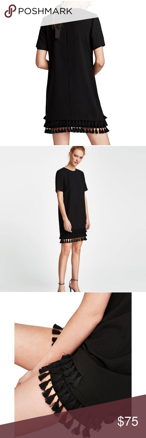 7596b620 Zara Woman Mini Dress Shift Pom Poms 9479/264 NWT Zara Woman Mini Dress  Shift