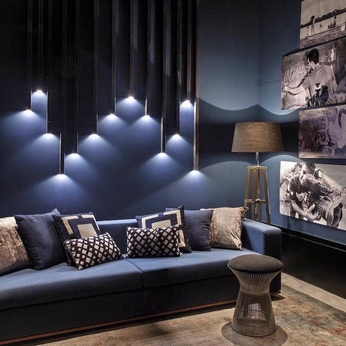 Geometrical 3d Lights Wall Installation Navy Blue Sofa Accent Wall Ideas Photos Smal In 2020 Accent Walls In Living Room Living Room Colors Accent Lighting Living Room