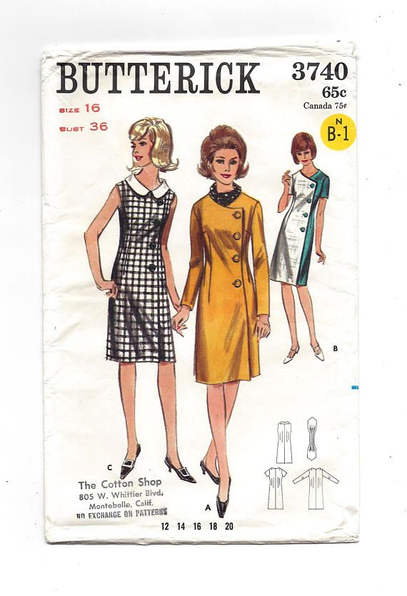 1960s Butterick 3740 Misses' One-Piece Dress Side