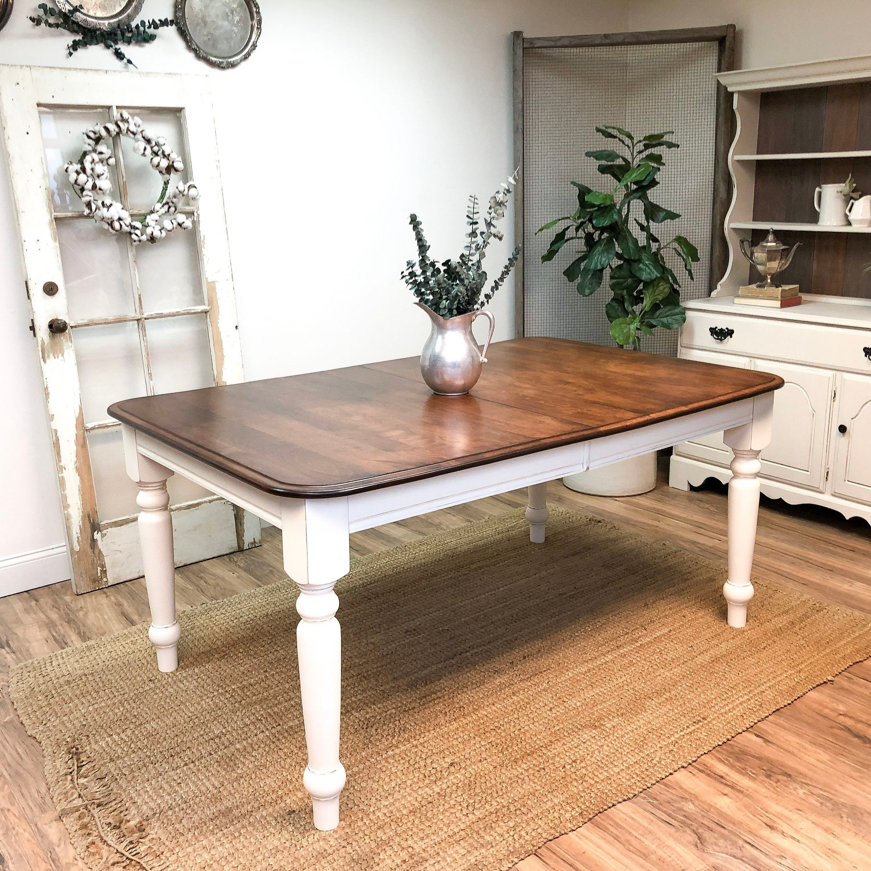 White farmhouse dining table with dark brown top distressed wood furniture vintage home decor