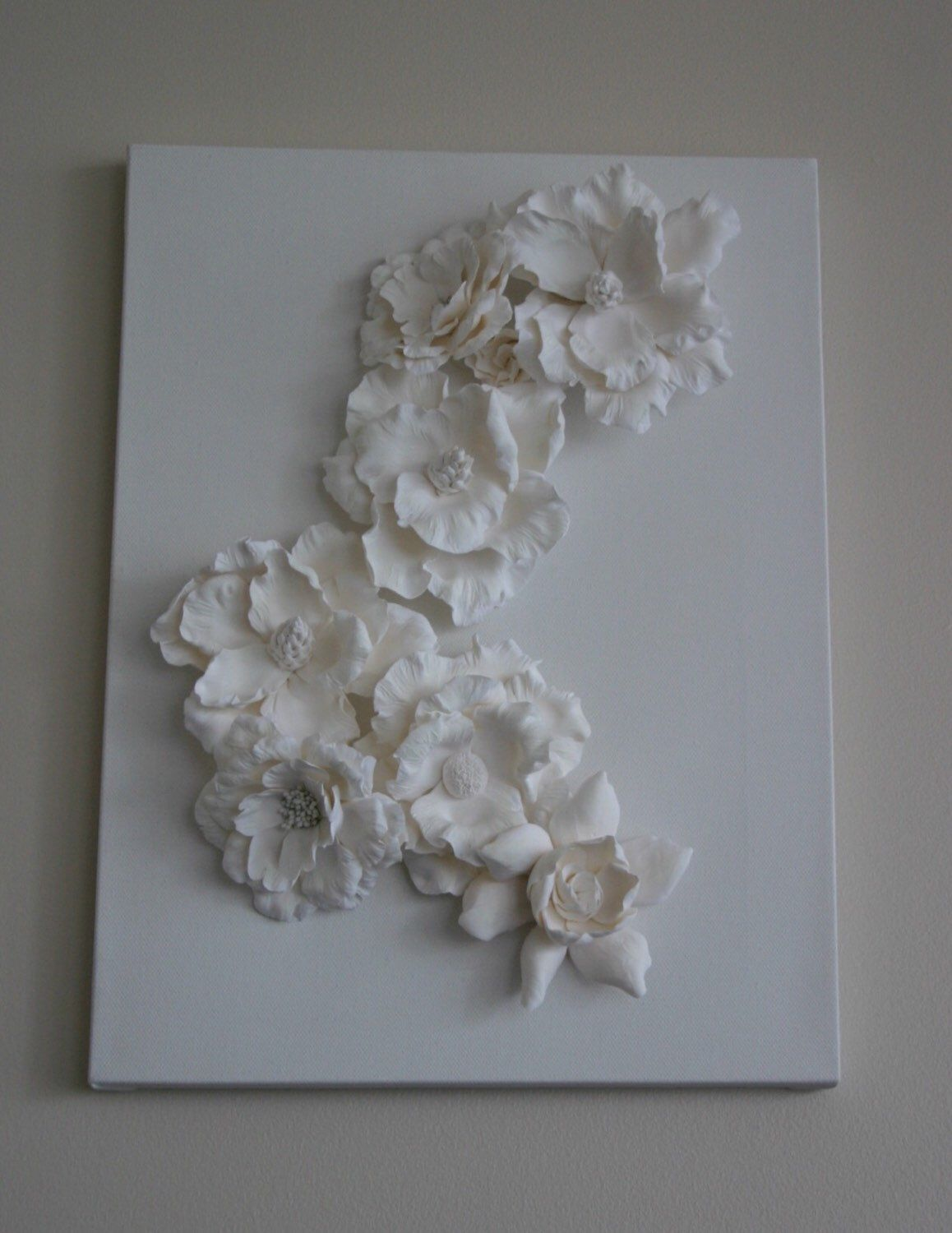 Canvas Art Work Clay Sculpture 3d Painting Wall Decoration White