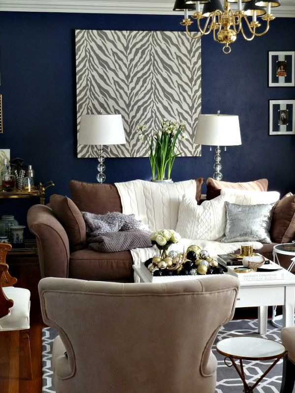 Royal Blue Accent Wall Living Room