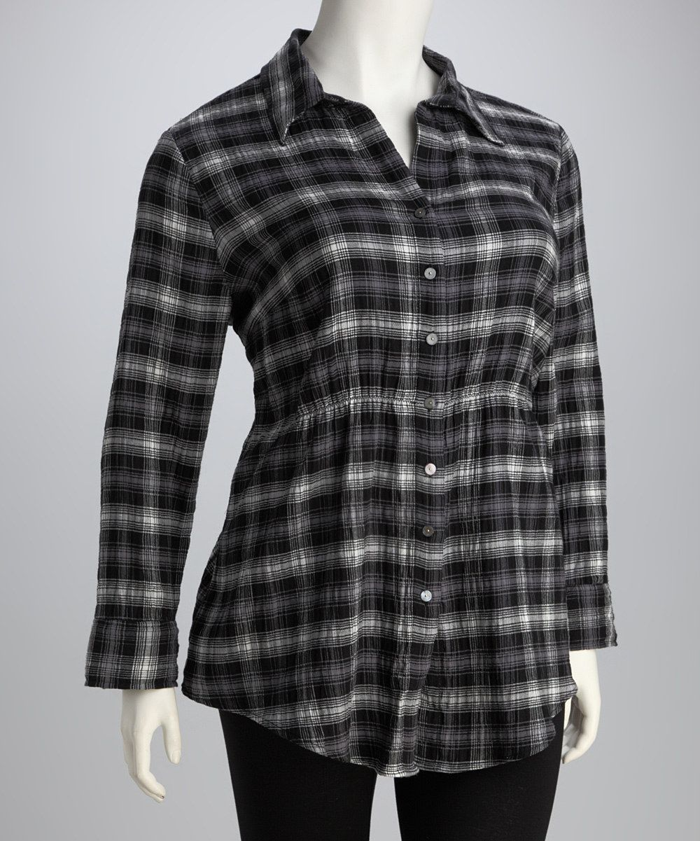 Live A Little Black & Gray Ruffle Plaid Plus-Size Button-Up Tunic