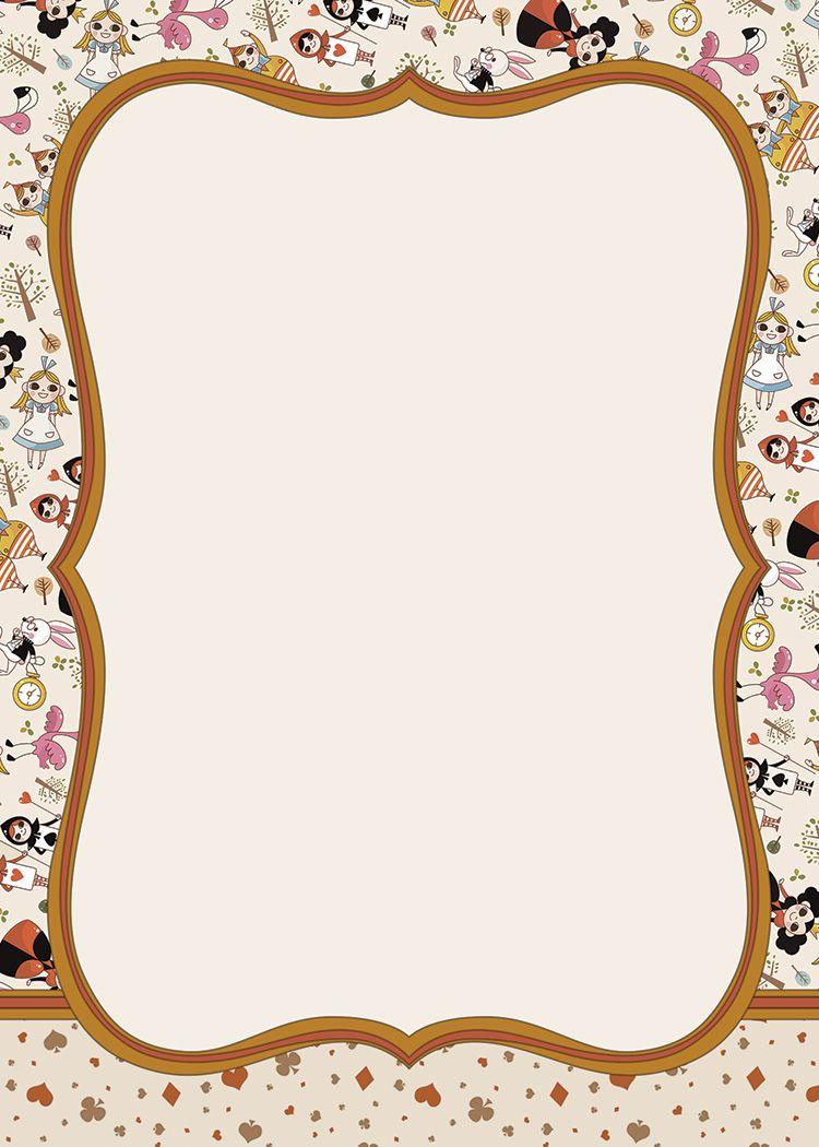 Printable Alice In Wonderland Invitation Template Alice In